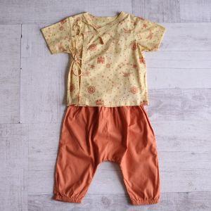 Dhruvtara Print Angarakha Top With Natural Dyed Orange Pyjama Bottoms