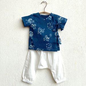 Zoo Print Angarakha Top With White Pyjama Pants