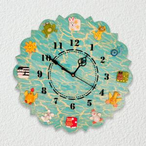 Hand Painted Animal Wall Clock - Blue