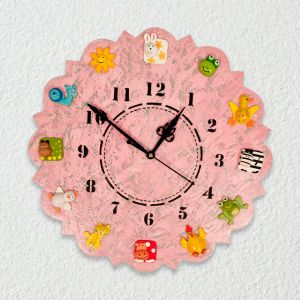 Hand Painted Animal Wall Clock - Pink