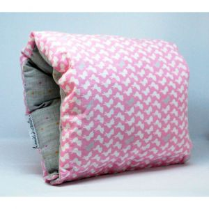 NAP: Nursing Arm Pillow: Mild grey weave with pink white rabbits reverse