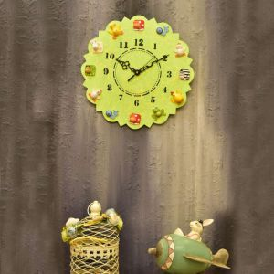 Hand painted Animal Wall Clock- Lime