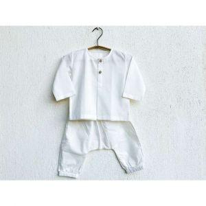 Essential White Unisex Kurta With Pyjama