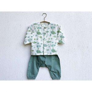 Fish Print Kurta With Mint Green Pyjama