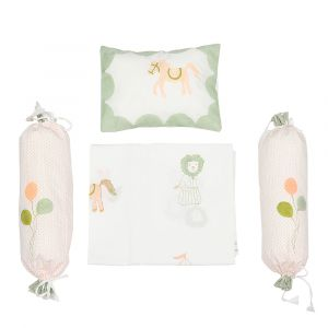 I Am Going To The Circus - Cot Bedding Set - Peach