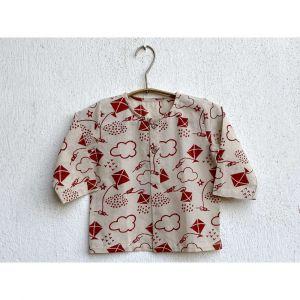 Patang Print Kurta With Red Pyjama