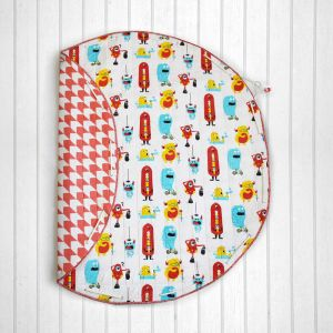 Silly Monsters Quilted Cotton Playmat cum Storage Bag - Red