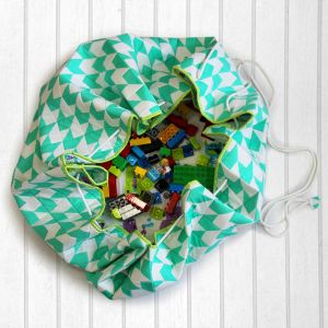 Silly Monsters Quilted Cotton Playmat cum Storage Bag - Green