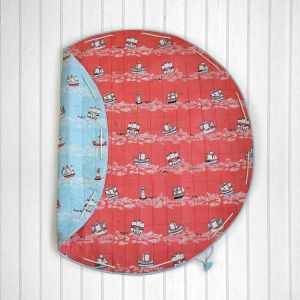 Sea & Ships Quilted Cotton Playmat cum Storage Bag - Red and Blue