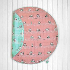 Sea & Ships Quilted Cotton Playmat cum Storage Bag - Peach and Green