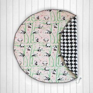 Panda Village Quilted Cotton Playmat cum Storage Bag - Pink